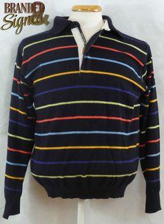 Green Coast Sweater Men s LARGE (42 Chest) NAVY BLUE Striped Merino Blend Mens Leisure Wear, Coast, Navy Blue, Men Sweater, Green, Casual, Sweaters, How To Wear, Clothes