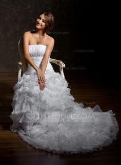 Wedding Dresses - $230.99 - A-Line/Princess Strapless Court Train Organza Wedding Dress With Beading Cascading Ruffles (002001294) http://jjshouse.com/A-Line-Princess-Strapless-Court-Train-Organza-Wedding-Dress-With-Beading-Cascading-Ruffles-002001294-g1294