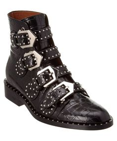 Givenchy Elegant Studded Leather Buckled Ankle Boot