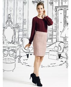 Review pink plans wool skirt