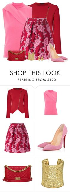 """""""pink and red"""" by divacrafts ❤ liked on Polyvore featuring Roland Mouret, J.W. Anderson, P.A.R.O.S.H., Christian Louboutin, Chanel, Kendra Scott, Marco Bicego and Original"""