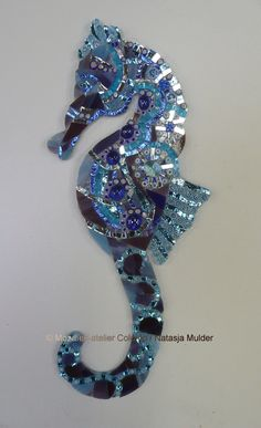 Seahorse Cool – Jolande van Seahorse Cool mosaic window decoration in various types of glass. Visit my website www. Mosaic Artwork, Mosaic Wall Art, Mirror Mosaic, Glass Wall Art, Fused Glass Art, Stained Glass Art, Mosaic Crafts, Mosaic Projects, Mosaic Ideas