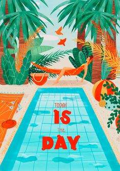 """""""Today is the Day!"""" she said as she laid down on her hammock listening to the birds sing while taking a much-needed nap. The Brunette, Female Protagonist, Bold Colors, Hammock, Kids Rugs, Birds, Hand Painted, Day, Vibrant Colors"""