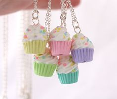 Miniature cupcake necklace kawaii pastel necklace by Zoozim