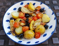 This roasted fennel with potatoes & tomatoes makes an excellent side dish for a roast joint or grilled meat/fish. Roasted Fennel, Grilled Meat, Tomatoes, Potato Salad, Side Dishes, Vegetables, Ethnic Recipes, Food, Vegetable Recipes