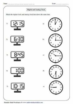 All kinds of time worksheets Matching Analog and Digital Clock . All kinds of time worksheets Matching Analog and Digital Clock Clock Worksheets, Kindergarten Math Worksheets, School Worksheets, Worksheets For Kids, Math Activities, Time Worksheets Grade 3, Telling Time Activities, Measurement Worksheets, Coloring Worksheets