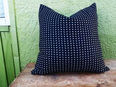 Black Herringbone Pillow Cover 20x20 Black  by PillowThrowDecor