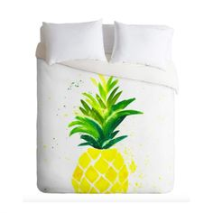 Pineapple Sunshine duvet cover in a whimsical watercolor design. Add a pop of color to your bedroom decor. Available in Twin/Queen/King