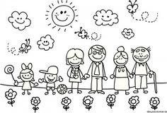 Dibujo para colorear de la familia