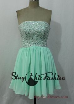 Lime Short Open Back Strapless Sequins Beading Top Prom Dress for Juniors