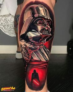 """We have all heard about the infamous bad guy from Star Wars, Darth Vader. Whether you know him as the guy with the creepy voice or the one who says """"I am your father"""", there is no denying that Darth Vader is one of the most famous characters from Star… Helmet Tattoo, War Tattoo, Star Wars Tattoo, Book Tattoo, Chip Tattoo, All Black Tattoos, Up Tattoos, Tattoos For Guys, Sleeve Tattoos"""