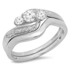 Elora 14k Gold 1/2ct TDW Round Diamond Swirl 3-stone Bridal Set (H-I, I1-I2) (Size 6.5 - White Gold), Women's, White H-I
