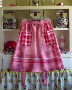 Red Gingham Half Aprons.........Inspired cross stitch (photo for ideas only