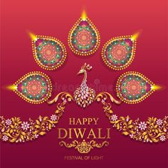 Illustration about Happy Diwali festival card with gold diya patterned and crystals on paper color Background. Illustration of diwali, ganesha, ceremony - 120249004