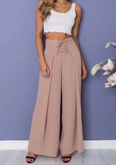 Pink draped lace-up zipper high waisted oversize casual long wide leg palazzo pants wide leg palazzo pants. Lazzo pants available sizes s;l lengthcm cm; Plazzo Pants Outfit, Khaki Pants Outfit, Designer Kurtis, Fashion Pants, Fashion Dresses, Wide Leg Palazzo Pants, Pantalon Large, Kurta Designs Women, Pants For Women