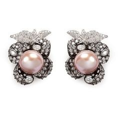 Anabela Chan 'Mini Blossom' pearl diamond pavé 18k black gold earrings