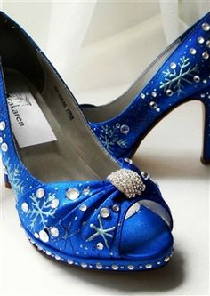 a791a96705a6 Wedding Shoes blue snowflakes custom Sapphire by norakaren
