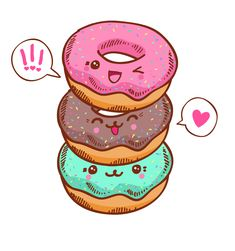 Illustration about Group of three cute kawaii donuts. Good for t-shirt design. Illustration of girly, dessert, bake - 49215780 Kawaii Anime, Griffonnages Kawaii, Arte Do Kawaii, Donuts Kawaii, Cute Donuts, Yummy Donuts, Donuts Donuts, Doodles Kawaii, Cute Kawaii Drawings