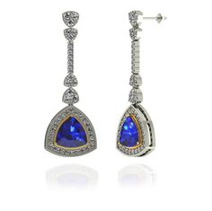 Get this lovely 3ctw Trillion Tanzanite Earring With 1.06ctw Diamonds in 14k White Gold for just $1920.99.