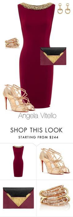 """""""Untitled #735"""" by angela-vitello on Polyvore featuring Christian Louboutin, Dareen Hakim, SPINELLI KILCOLLIN and Gucci"""