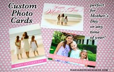 Custom Photo Cards! Who Says They're Just for Christmas?  I love to create custom photo cards all year long--for birthdays, Mother's Day, Father's Day, etc.  You can create the perfect card with just the right wording, and you'll probably spend less $ too!  See some examples in this post.  #cards #harvardhomemaker