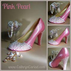Edible sugar pearl embellished chocolate stiletto shoes / heels from Cathryn Cariad Chocolates - www.CathrynCariad.com