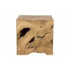 """Our Milo Teak Collection is hand crafted from painstakingly harvested teak root in Indonesia.  It is sliced and formed into a modern square shape. Javanese artisans then carve root """"puzzle pieces"""" to insert in the negative spaces to create a perfect fit. The Milo Cube can be used as a stool as well as an end table.     •16""""W x 16""""D x 16""""H  •hand crafted in Indonesia  •unfinished teak root  •knots, splits, holes, and hand carved """"puzzle pieces"""" contribute character  •each is unique"""