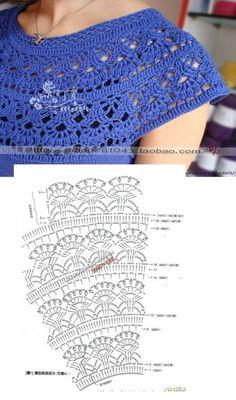 Crochet Koozie - Vestido infantil franzido com babados (mit Bildern) Col Crochet, Gilet Crochet, Crochet Collar, Crochet Diagram, Crochet Blouse, Crochet Chart, Crochet Scarves, Irish Crochet, Crochet Motif