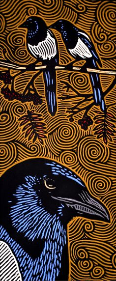 LISA  BRAWN   WOODCUT           Magpies 4