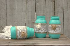 Mason Jars Shabby Chic Tiffany Blue Aqua by TheVintageArtistry, $30.00