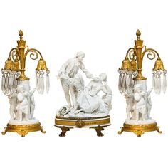 Three Piece Sevres Bisque And Bronze Garniture Set | From a unique collection of antique and modern table lamps at http://www.1stdibs.com/lighting/table-lamps/