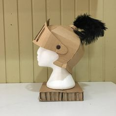Cardboard Knights Helmet Template Cardboard Costume, Cardboard Crafts, Paper Crafts, Creative Crafts, Fun Crafts, Diy And Crafts, Arts And Crafts, Projects For Kids, Diy For Kids