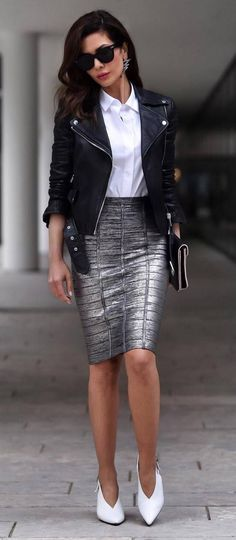 stylish look / biker jacket + white shirt + silver skirt + heels #omgoutfitideas #outfitoftheday #women