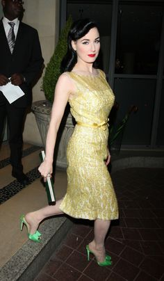 #Dita in yellow lace dress and green satin mules ~ a sweet look  Yellow Dress #2dayslook #fashion #nice #YellowDress  www.2dayslook.com