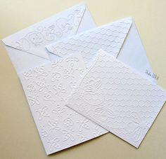 Bee Embossed Cards - 2 styles- Set of 4 white A2 embossed cards or Choose Your Colors by StudioIdea on Etsy