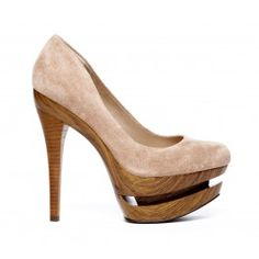 Perfect nude heel with an edge! Nude shoes pumps.Genuine suede cut out platform pump with stacked heel. This a definite head turner in both colors!