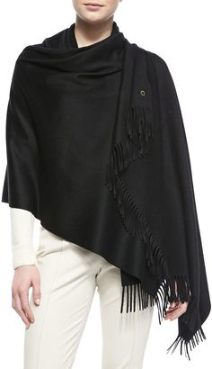 $1,095, Black Shawl: Loro Piana Opera Cashmere Stole Black. Sold by Neiman Marcus. Click for more info: https://lookastic.com/women/shop_items/107794/redirect