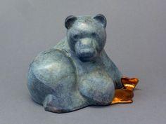 #Bronze #sculpture by #sculptor Mark Yale Harris titled: 'Caught (bronze Contemporary Brown Bear sculpture)'. #MarkYaleHarris