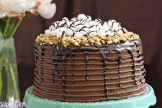 This Rocky Road Layer Cake is all you need to satisfy your chocolate cravings! It's loaded with marshmallows, nuts, and LOTS of chocolate.