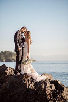 Mermaid Inspired Wedding Shoot with a Fairy Tale Romance   B. Jones Photography   http://heyweddinglady.com/glam-mermaid-wedding-moonlit-coast/