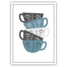 Scandi style stacked cups kitchen print