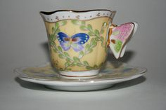 Butterfly Handle Teacup and Matching Saucer