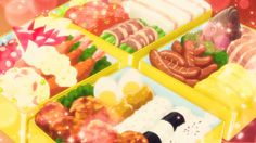 Yuyu's 'Friendship Special' from Oomori Boxed Lunches! Anime Bento, Real Food Recipes, Yummy Food, Rainbow Food, Food Stations, Fake Food, Food Drawing, Food Illustrations, I Love Food