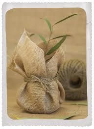 Hessian wrapped plant favours