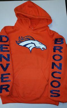 Broncos Glittery Unisex Hoodie , super shinny sparkle wont flake Denver Colorado Women will love it! Denver Broncos Hoodie, Denver Broncos Womens, Broncos Shirts, Denver Broncos Football, Go Broncos, Football Love, Broncos Fans, Football Baby, Football Season