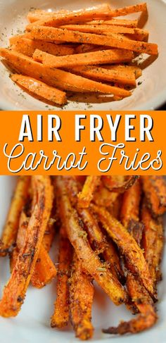 Roasted carrots are great - but they take time - UNLESS you're making them in your air fryer! These air fryer carrot fries are a tasty and quick side dish for any meal! Air Fryer Oven Recipes, Air Frier Recipes, Air Fryer Dinner Recipes, Carrot Recipes, Healthy Recipes, Recipes For Carrots, Healthy Fries, Ninja Recipes, Healthy Dishes