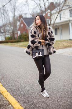 Mini Handbags are a Street Style Trend - cozy multicolor fur coat + mini handbag, leather pants, and silver metallic shoes