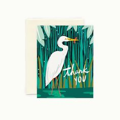 Egret Thank You Greeting Card by IdlewildCo on Etsy https://www.etsy.com/listing/193320102/egret-thank-you-greeting-card