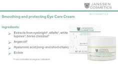 Medical study performed by DERMATEST® confirmed that Eye Care Cream performs an instant smoothing effect on the skin. The measurement of the wrinkle depth is reduced on average by 27,69% when applied regularly***  ***The test was performed by DERMATEST® using optical 3D-measuring of epidermis. Test results were concluded after a 4-week test run. http://www.janssen-cosmetics-shop.ie/biocosmetics/eye-care-cream.html