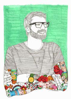 Labaribaruska Hombre Man Barba Beard Tatuajes Tattoos Gafas Glasses